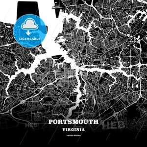 Black map poster template of Portsmouth, Virginia, USA - HEBSTREITS