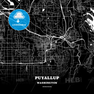 Black map poster template of Puyallup, Washington, USA - HEBSTREITS