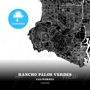 Black map poster template of Rancho Palos Verdes, California, USA - HEBSTREITS