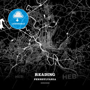 Black map poster template of Reading, Pennsylvania, USA - HEBSTREITS