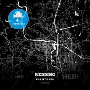 Black map poster template of Redding, California, USA - HEBSTREITS