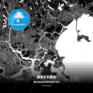 Black map poster template of Revere, Massachusetts, USA - HEBSTREITS