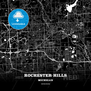 Black map poster template of Rochester Hills, Michigan, USA - HEBSTREITS