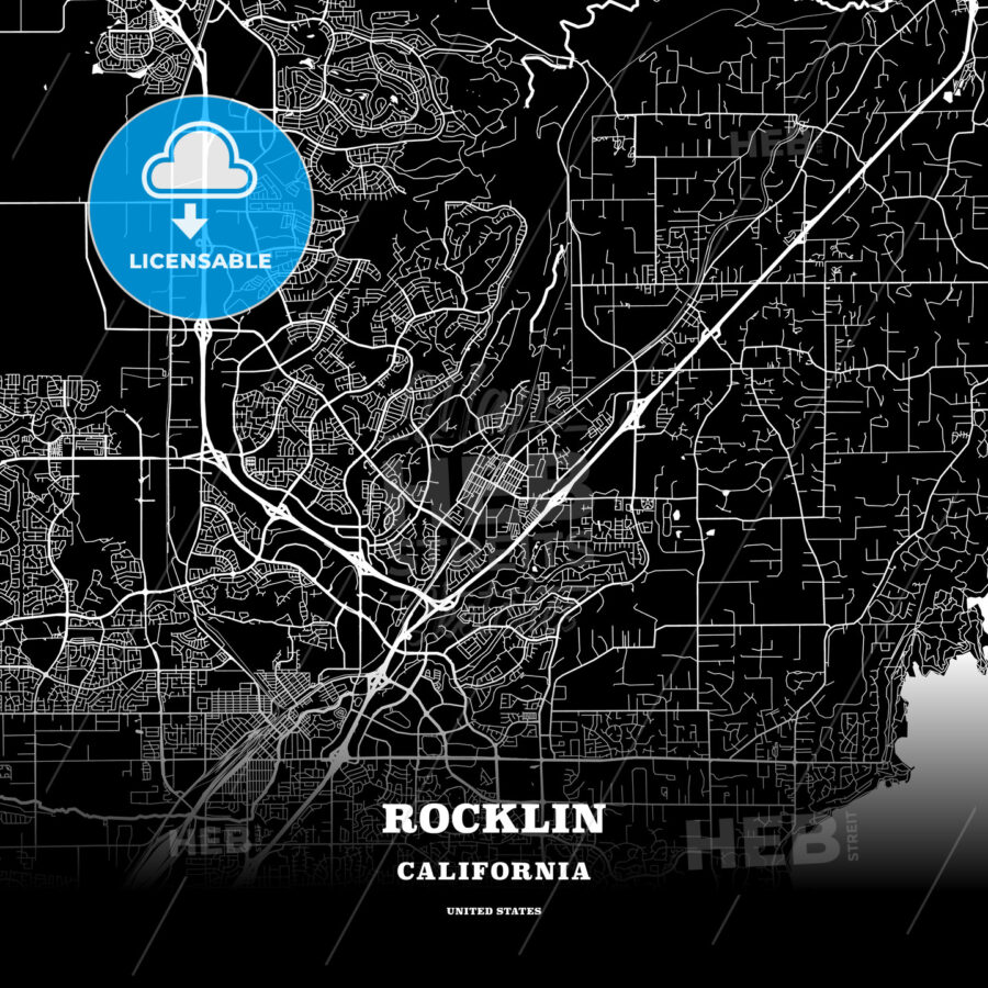 Black map poster template of Rocklin, California, USA - HEBSTREITS