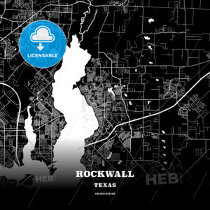 Black map poster template of Rockwall, Texas, USA - HEBSTREITS