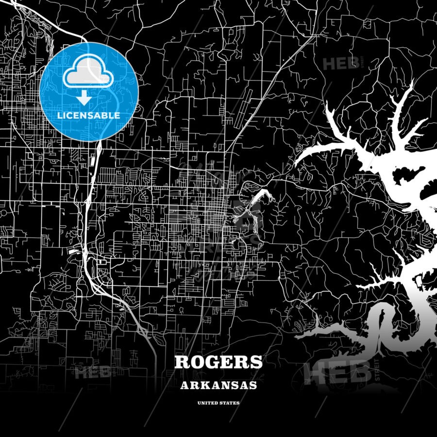 Black map poster template of Rogers, Arkansas, USA - HEBSTREITS