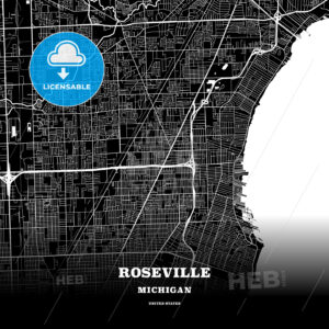 Black map poster template of Roseville, Michigan, USA - HEBSTREITS