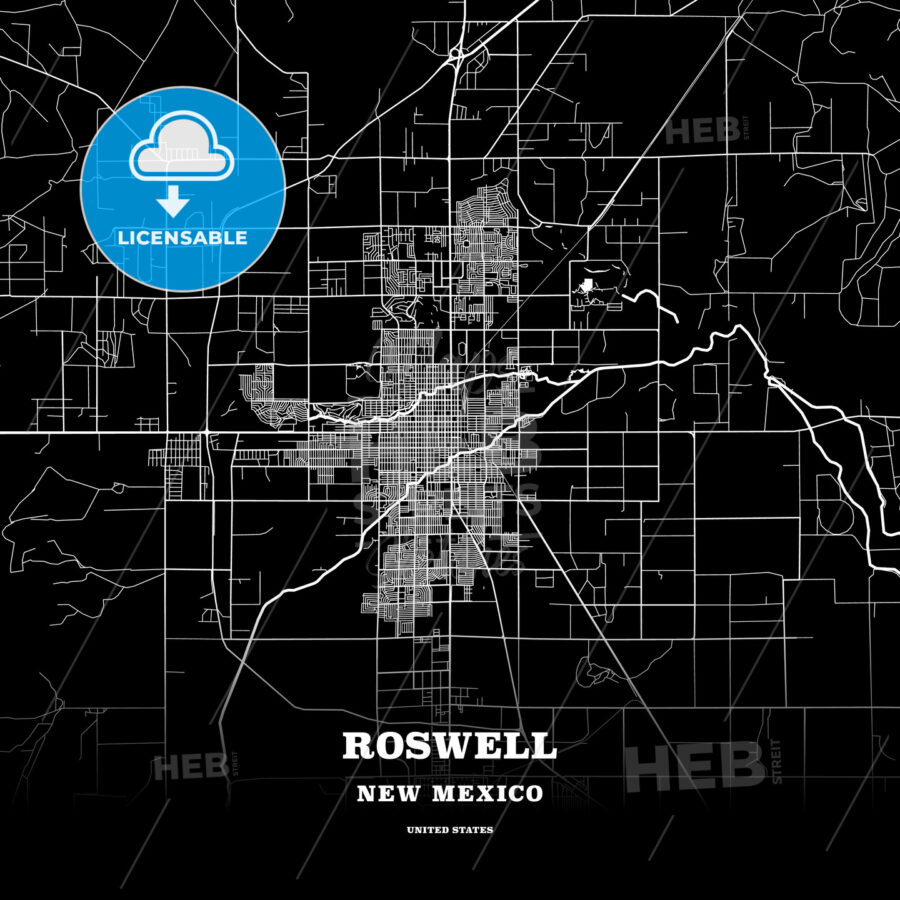 Black map poster template of Roswell, New Mexico, USA - HEBSTREITS