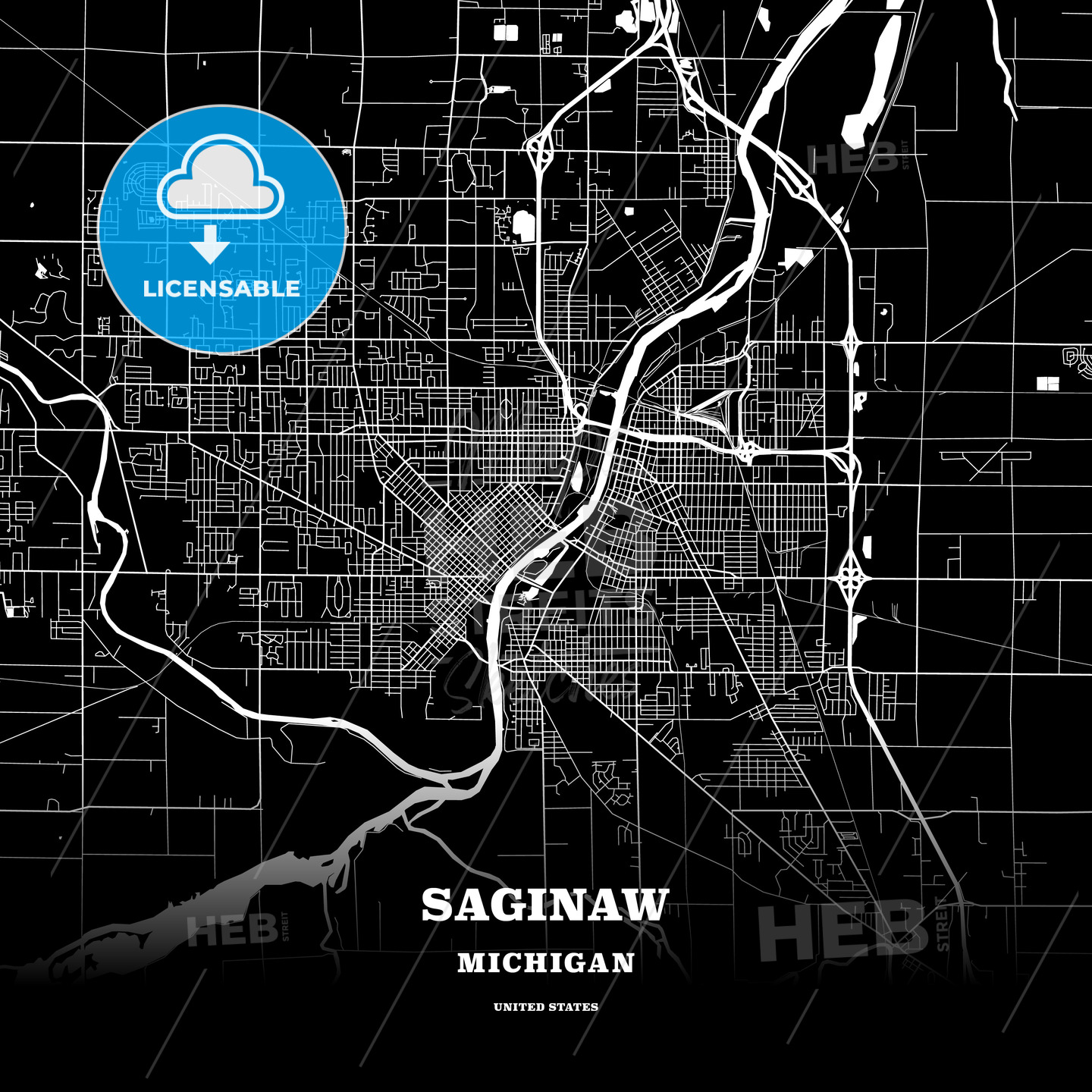 Black Map Poster Template Of Saginaw Michigan Usa Hebstreits