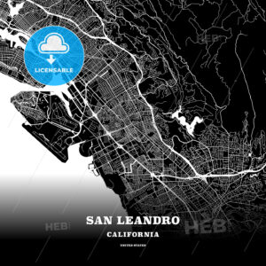 Black map poster template of San Leandro, California, USA - HEBSTREITS