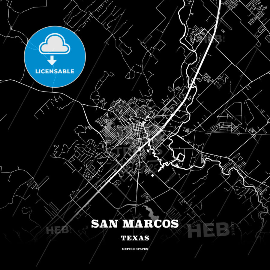 Black map poster template of San Marcos, Texas, USA - HEBSTREITS