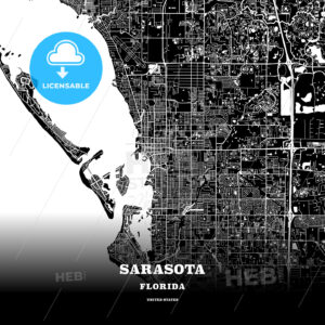 Black map poster template of Sarasota, Florida, USA - HEBSTREITS