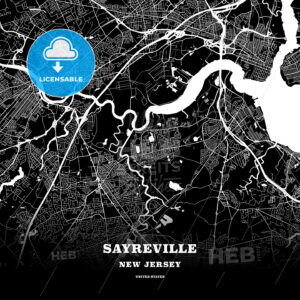 Black map poster template of Sayreville, New Jersey, USA - HEBSTREITS
