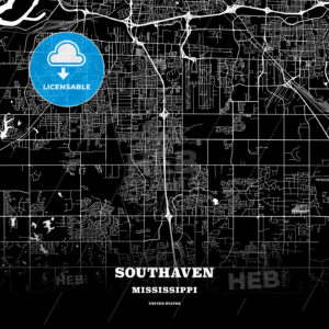 Black map poster template of Southaven, Mississippi, USA - HEBSTREITS