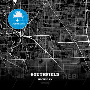 Black map poster template of Southfield, Michigan, USA - HEBSTREITS