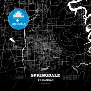 Black map poster template of Springdale, Arkansas, USA - HEBSTREITS