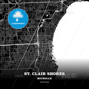 Black map poster template of St. Clair Shores, Michigan, USA - HEBSTREITS