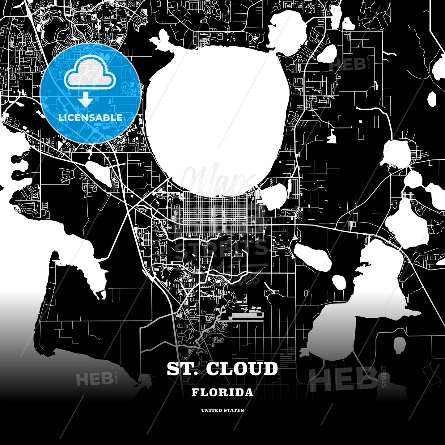 Black map poster template of St. Cloud, Florida, USA