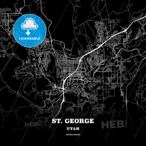 Black map poster template of St. George, Utah, USA - HEBSTREITS