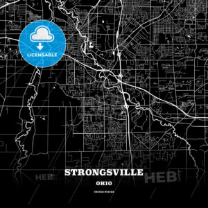Black map poster template of Strongsville, Ohio, USA - HEBSTREITS