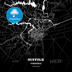 Black map poster template of Suffolk, Virginia, USA - HEBSTREITS