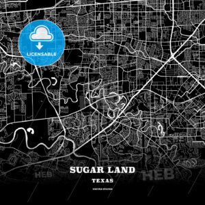 Black map poster template of Sugar Land, Texas, USA - HEBSTREITS