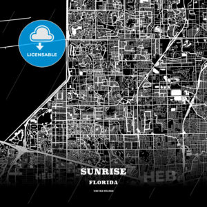 Black map poster template of Sunrise, Florida, USA - HEBSTREITS