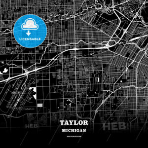 Black map poster template of Taylor, Michigan, USA - HEBSTREITS