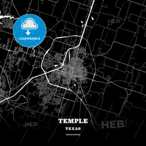 Black map poster template of Temple, Texas, USA - HEBSTREITS