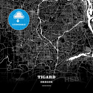 Black map poster template of Tigard, Oregon, USA - HEBSTREITS