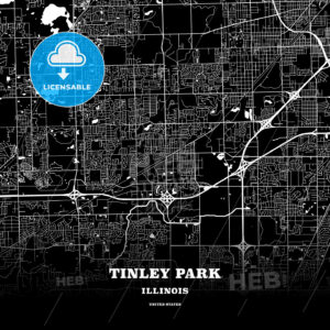 Black map poster template of Tinley Park, Illinois, USA - HEBSTREITS