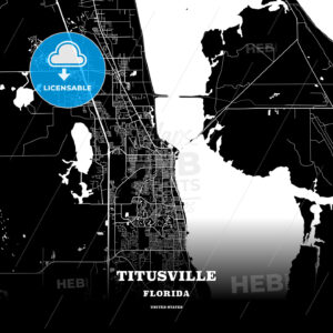 Black map poster template of Titusville, Florida, USA - HEBSTREITS