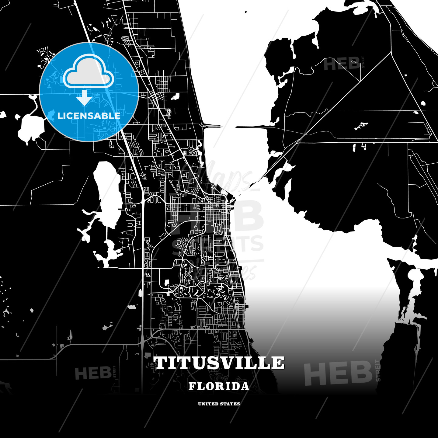Black Map Poster Template Of Titusville Florida Usa Hebstreits