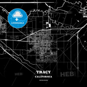 Black map poster template of Tracy, California, USA - HEBSTREITS