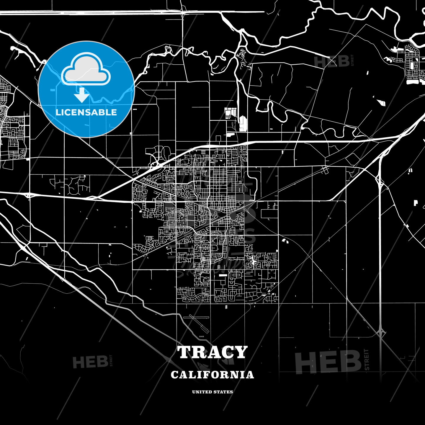 Black Map Poster Template Of Tracy California Usa Hebstreits