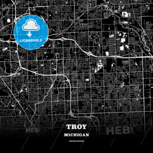 Black map poster template of Troy, Michigan, USA - HEBSTREITS