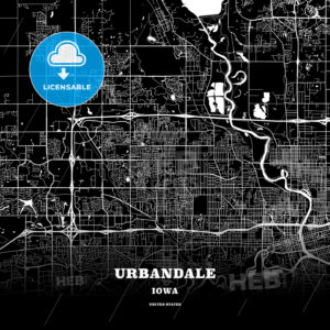 Black map poster template of Urbandale, Iowa, USA - HEBSTREITS
