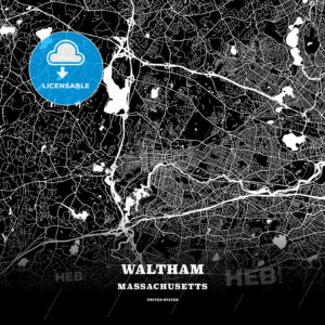 Black map poster template of Waltham, Massachusetts, USA - HEBSTREITS