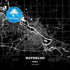 Black map poster template of Waterloo, Iowa, USA - HEBSTREITS