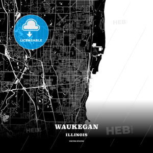 Black map poster template of Waukegan, Illinois, USA - HEBSTREITS