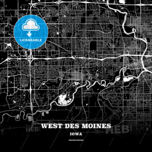 Black map poster template of West Des Moines, Iowa, USA - HEBSTREITS