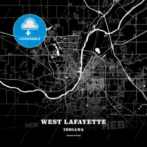 Black map poster template of West Lafayette, Indiana, USA - HEBSTREITS