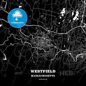 Black map poster template of Westfield, Massachusetts, USA - HEBSTREITS