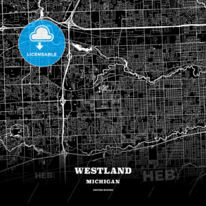 Black map poster template of Westland, Michigan, USA - HEBSTREITS