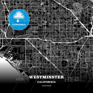 Black map poster template of Westminster, California, USA - HEBSTREITS