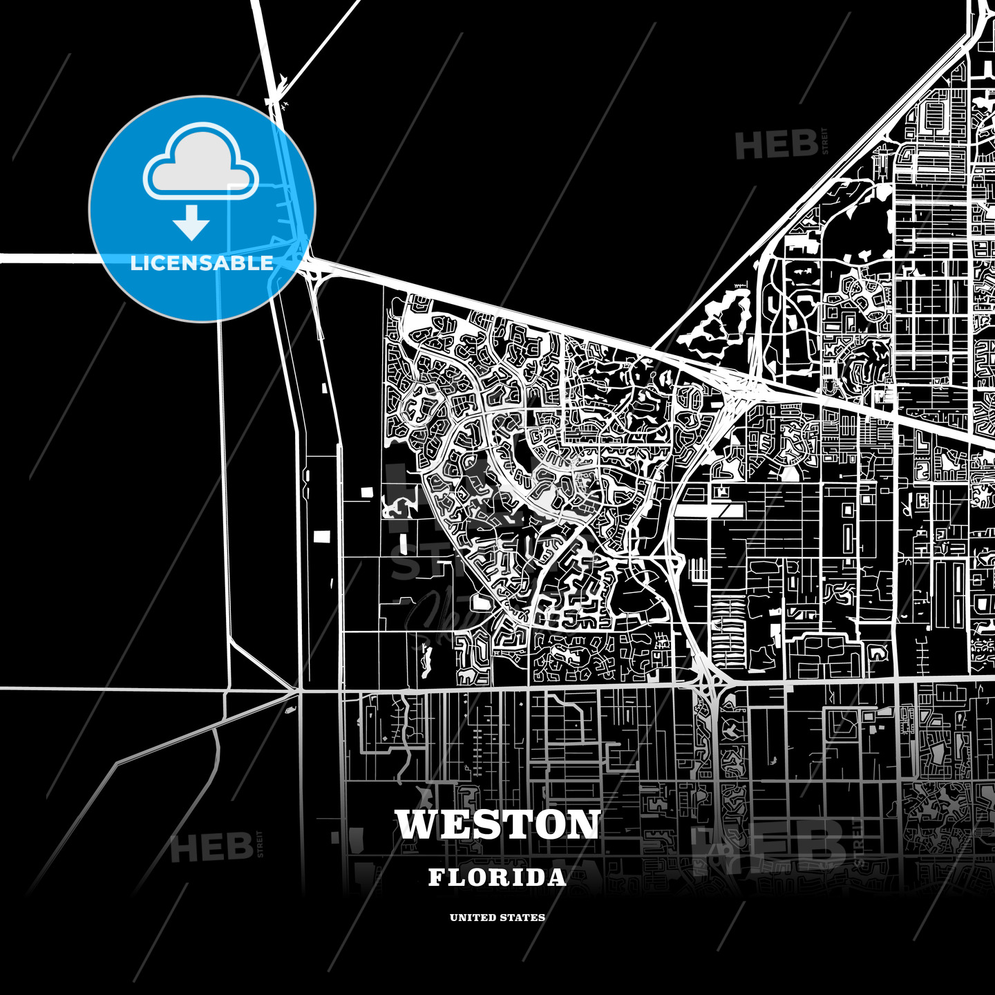 Map Of Weston Florida.Black Map Poster Template Of Weston Florida Usa Hebstreits