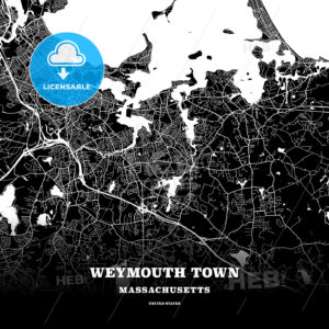 Black map poster template of Weymouth Town, Massachusetts, USA - HEBSTREITS
