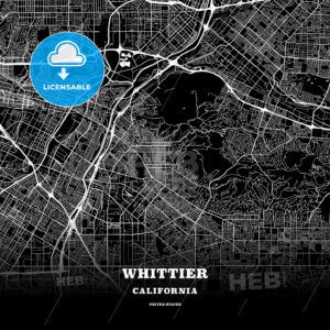 Black map poster template of Whittier, California, USA - HEBSTREITS