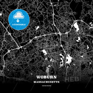 Black map poster template of Woburn, Massachusetts, USA - HEBSTREITS