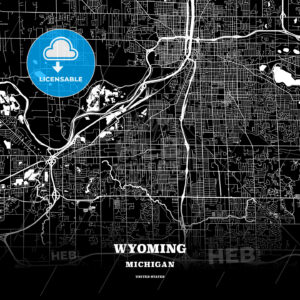 Black map poster template of Wyoming, Michigan, USA - HEBSTREITS